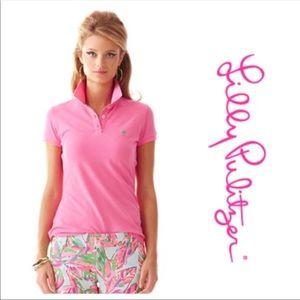 LILLY PULITZER Light Pink Island Polo Palm Logo M
